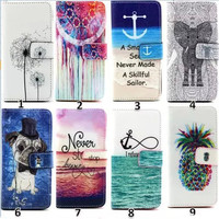 Painting Style Girl Love Elephants Flower Card Wallet Leather Case For iPhone 6 4.7inch Flip Cover With Card Stand Holder Phone