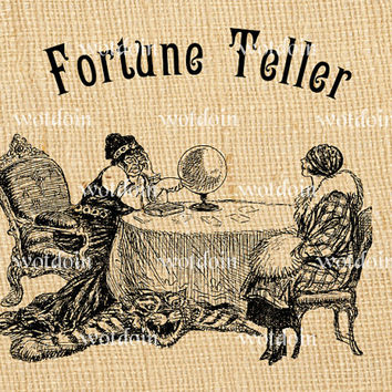 Fortune Teller Crystal Ball Magic Divination Medium Tarot Cards Clairvoyant Instant Download Digital Image Transfer