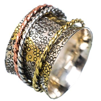 Spinner Ring Three Tone Three Textured Band Spinners