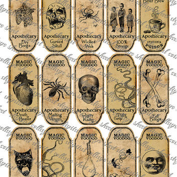 15 Halloween Magic Voodoo Apothecary Bottle Jar Labels instant digital collage sheet.