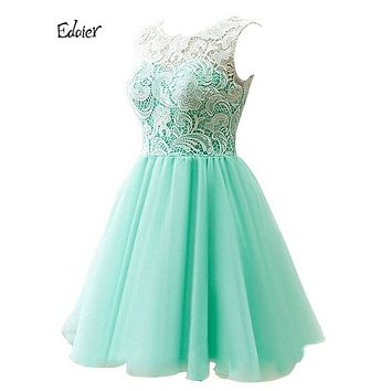 Edaier Cocktail Dresses 2017 Sexy Women's Lace Above Knee Chiffon Tiered Evening Gowns Plus Size Bride Formal Prom Party Dress