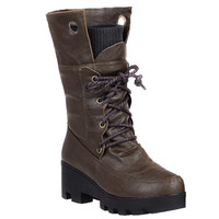 Mid-Calf Boots With Ruched and Lace-Up Design