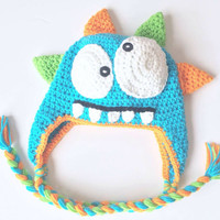 Crochet Monster Hat Pattern / Crochet Cake Smash Hat INSTANT Download / Crochet Monster Hat pattern / Boys Monster Halloween Beanie