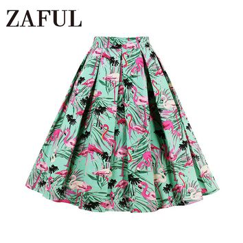 ZAFUL S~2XL Women Retro Skirts 50s 60s Vintage Rockabilly Swing Feminino Skirts Green Flamingo Leaf Print Cotton Casual Skirts