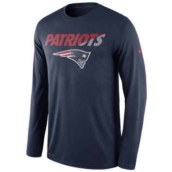 Men's New England Patriots Nike Navy Legend Staff Practice Long Sleeve Performance T-Shirt