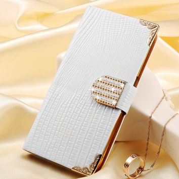 Bling Wallet PU Leather Case For iPhone 6 S 6S 4.7 Phone Crystal Diamond Rhinestone With Card Slot Gold Back Cover For iPhone6