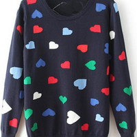 Dark Green Hearts Knitted Sweater