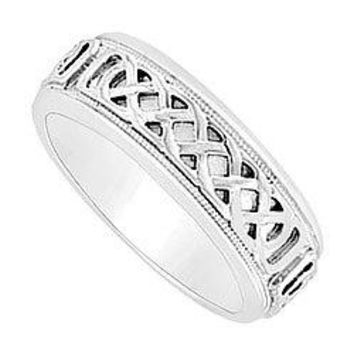 7MM Comfort Fit Fancy Knot Engraved Wedding Band : 14K White Gold