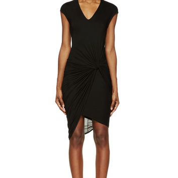 Helmut Lang Black Slack Jersey Twist-waist Dress
