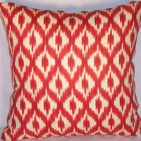 """Red Ikat Throw Pillow Waverly Dedra Ruby Diamond 100% Linen Williamsburg 17"""" Square Cover and Insert Ready to Ship"""