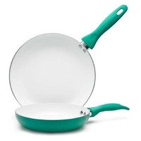 IKO Vivid Collection Ceramic Non Stick 2 Piece Set - 8-inch and 10-inch (Green)