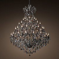 "19th C. Rococo Iron & Smoke Crystal Round Chandelier 60"" - Matte Natural Iron"