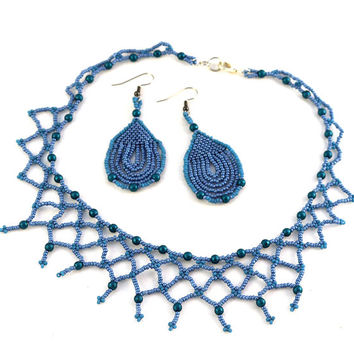Blue Beaded Lace Jewelry Set with Blue Necklace and Blue Earrings