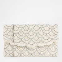 New Look Faux Pearl Scallop Clutch