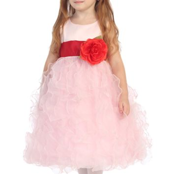 Pink Satin & Layers of Organza Ruffles Blossom Flower Girl Dress (Girls 12 months - Size 12)