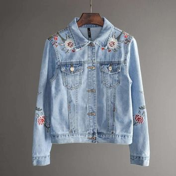 Cool Spring Autumn Bomber Jacket Women Short Embroidery Denim Jacket Woman Coat BF Style Tops Jeans Jacket Women Basic Coats C4323AT_93_12