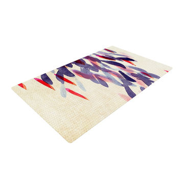 "Iris Lehnhardt ""Abstract Leaves IV"" Tan Purple Woven Area Rug"