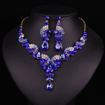 New fashion wedding Blue Dubai rhinestone jewelry set brides bridesmaid or prom party gold plated necklace earring set women