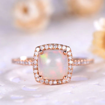 2.5ct opal engagement ring rose gold 14k/18k Unique Halo Cushion or 925 sterling silver with Man made CZ diamond Stacking promise ring