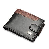 Baellerry Patchwork Leather Men Wallets Short Male Purse With Coin Pocket Card Holder Trifold Wallet Men Clutch Money Bag W066