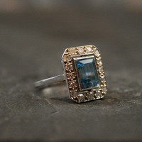 French Art Deco Platinum Aquamarine & Diamond Ring by Ruby Gray's | Ruby Gray's Antique & Vintage Rings