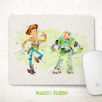 Toy Story Mouse Pad, Woody and Buzz Watercolor Art, Mousepad, Office Decor, Gift, Art Print, Desk Deco, Computer Mouse, Disney Accessories