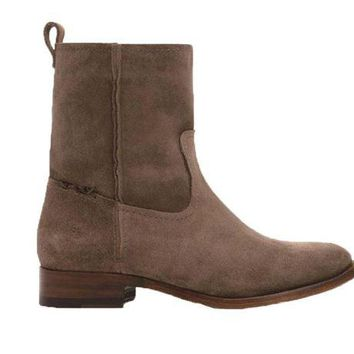 DCCKAB3 Frye Cara Short Elephant Grey Suede Leather Boots