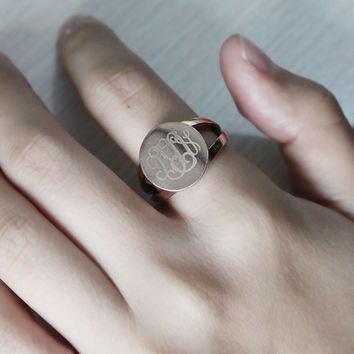 Engraved Monogrammed Ring Personalized 3 Initials Rose Gold Monogram Name Ring Custom Name Jewelry