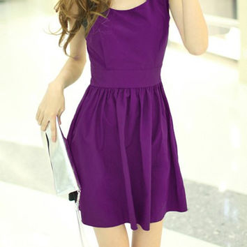 Purple Bow Tie Backless Mini Dress