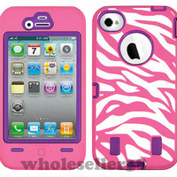 HOT PINK ZEBRA HIGH IMPACT COMBO HARD RUBBER CASE FOR IPHONE 4 4G 4S PURPLE