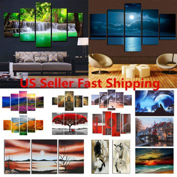 Large Picture Modern Abstract Canvas Oil Painting Print Home Room Wall Art Decor
