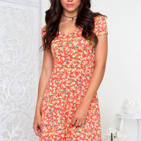 Rose Garden Floral Dress in Salmon