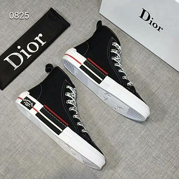 DIOR 2019 early spring new printing high shoes casual men and women canvas shoes black