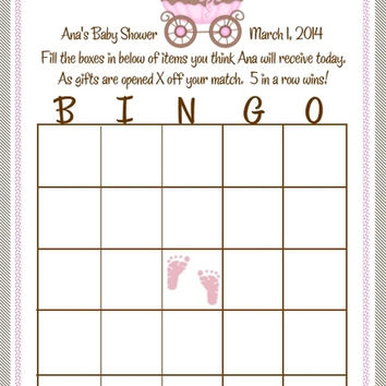 Pink and Brown Baby Shower Bingo Cards