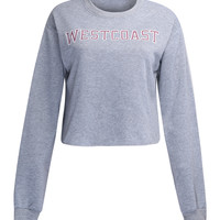 Grey Contrast Letter Print Cropped Sweatshirt
