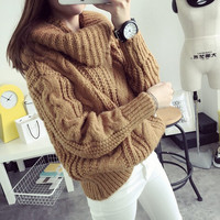 Winter Crochet Women Sweater Pull Long Sleeve Korean Jumper Pullover Turtleneck Oversize Loose Casual Knitwear Ladies Tops MF859