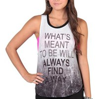 "deep armhole tank with ""what's meant to be"" screen print"