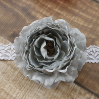 Gray Ranunculus Flower Lace Headband or Clip Hair Accessories Baby Toddler Adult