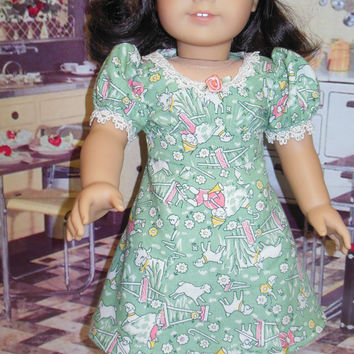 Nursery Rhyme Vintage girls dress 1930's dress (18 inch) Little Boy Blue green OOAK for American Girl doll