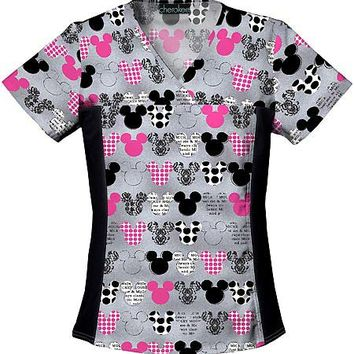 Buy Disney Women Two Pocket V-Neck Mickey Scrub Top for $21.45