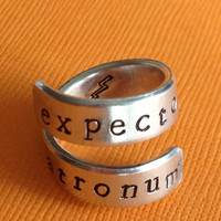 Expecto Patronum -  Harry Potter Inspired -  Twist Aluminum Ring - Hand Stamped