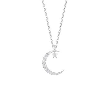 Moon & Star Necklace - Silver Plated