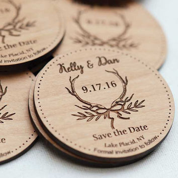 Rustic Antlers Save the Date Magnets - Laser cut and Etched on Wood
