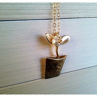 Flower Pot Gold Necklace - Cute, small,simple, modern, everyday jewelry, friend gift
