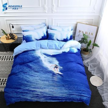 Nordic Bedding Linen Bed Clothes 3D Ocean Surfing Printing Bedding Set Adults Blue Bed Comforter Duvet Cover Set US Queen King