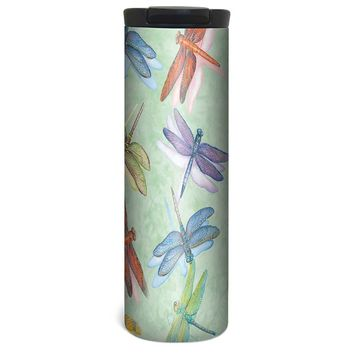 Dragonflies Barista Tumbler Travel Mug - 17 Ounce, Spill Resistant, Stainless Steel & Vacuum Insulated