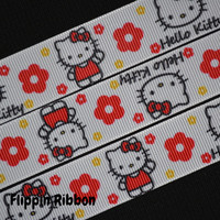 Hello Kitty Inspired Ribbon with Flowers, 4 Yards, 7/8 inch Grosgrain