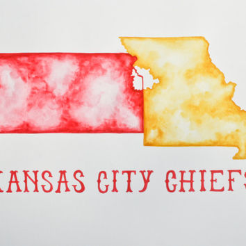 Original Watercolor Painting of a Map of Kansas City in Kansas City Chiefs theme.  Painted in yellow & red. Would look great in any space