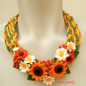 Fall necklace - Flower necklace - Orange jewelry - Plaited necklace - Sunflower - Handmade polymer jewelry