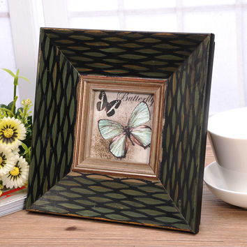 3/6/7 Inch solid wood retro Photo Craft pastoral gifts  Frame Home Decor Wooden Wedding Desktop Wall Picture Frame